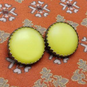 🌈 Vintage silver filagree matte yellow disc